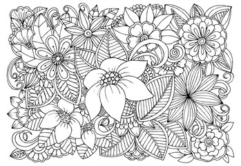 Black and white flower pattern for adult coloring book. Doodle floral drawing. Art therapy coloring page. Printable card