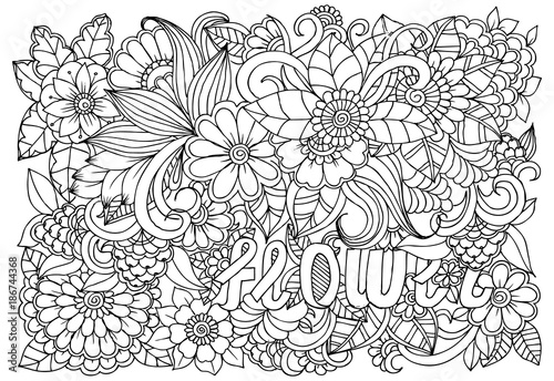 Black and white flower pattern for adult coloring book. Doodle ...