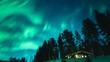 Low angle, aurora borealis over cabin in Finland