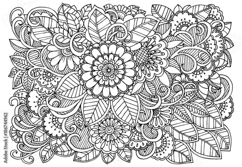 Black and white flower pattern for adult coloring book ...