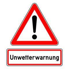 ncsc3 NewCombinationSignCaution ncsc - Achtung Ausrufezeichen / dreieckig - Wetterkennzeichnung mit Text: Unwetterwarnung - Sturmwarnung, Hochwasser, Überflutung, Starkregen, Sturmböen - g5782
