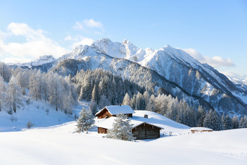 Fototapete - Winter scene. Traditional alpine hut with mountains on background