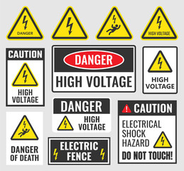 high voltage sign set, danger label vector illustration