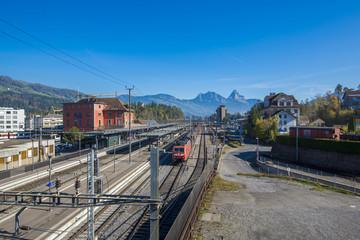 Mt. Rigi, Switzerland - November 1, 2017: a Rigi Railways train leaving the Rigi-Kulm station . Rigi Railways (German: Rigi-Bahnen) is a group of railways on Mount Rigi.Switzerland