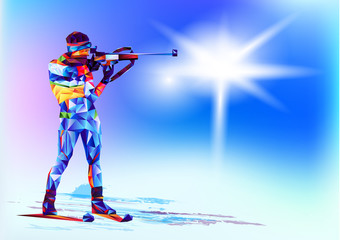 The polygonal colourful figure of a rifleman with a rifle, biathlon with on a white and blue background. Vector illustration blue background in a geometric triangle of XXIII style Winter games