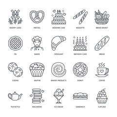 Bakery, confectionery line icons. Sweet shop products - cake, croissant, muffin, pastry, cupcake, pie Food thin linear signs