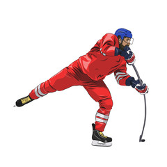 Ice hockey player in red jersey shooting puck, isolated vector illustration. Side view