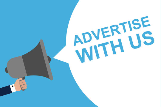 Hand Holding Megaphone With Speech Bubble ADVERTISE WITH US . Announcement. Vector illustration