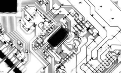 Technology concept represented by circuit board. Closeup