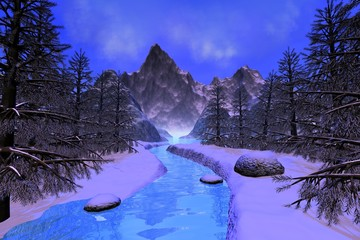 River, a snowy landscape, mountain, coniferous trees and a blue sky.