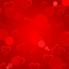 Red valentine background with colorful heart and light reflections. Light illuminating backdrop