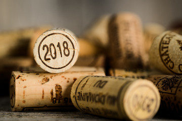 close up of a 2018 vintage new year wine cork with a copyspace
