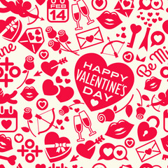 Seamless pattern of scattered Valentine's Day icons, hearts, and symbols. For backgrounds, gift wrap, fabric design. Vector illustration.