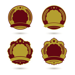 Set of medal badge templates. Vector illustration.