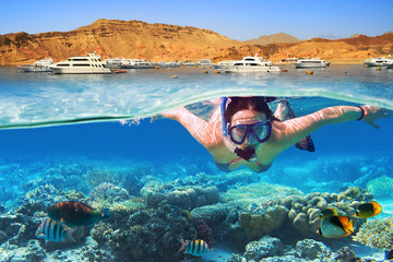 Printed roller blinds Diving Young woman at snorkeling in the tropical water