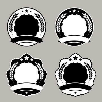 Set of medal badge templates. Vector illustration.