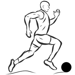 black and  white man running figure with ball vector