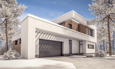 3d rendering of modern winter house