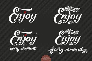 Set of hand drawn lettering Enjoy with a small heart and floral elements. Elegant modern handwritten calligraphy. Vector Ink illustration. Typography poster on dark background. For cards, invitations