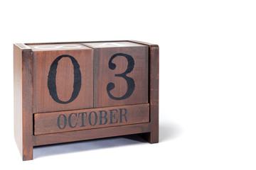 Wooden Perpetual Calendar set to October 3rd