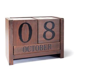 Wooden Perpetual Calendar set to October 8th