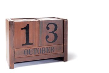 Wooden Perpetual Calendar set to October 13th