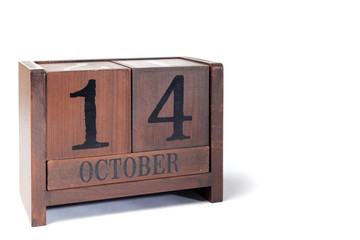 Wooden Perpetual Calendar set to October 14th
