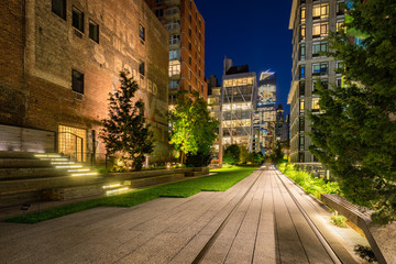 The High Line promenade (Highline) illuminated at night in Summer. Chelsea, Manhattan, New York City
