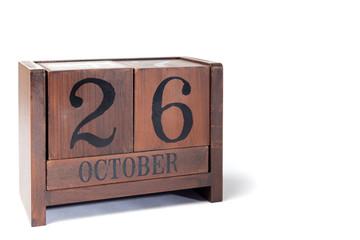 Wooden Perpetual Calendar set to October 26th