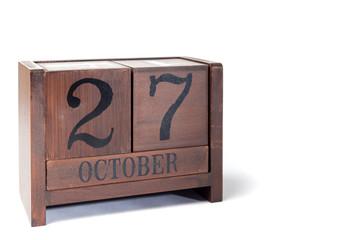 Wooden Perpetual Calendar set to October 27th