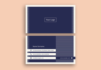 Navy Blue Business Card Layout with White Stripes