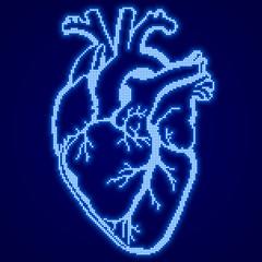 Blue glowing pixel heart