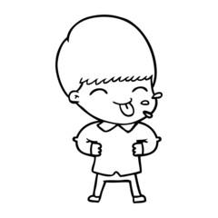 cartoon boy sticking out tongue