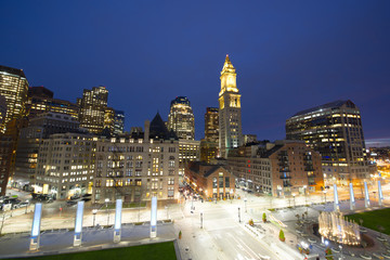 Boston Custom House and Financial District skyline at night, Boston, Massachusetts, USA.