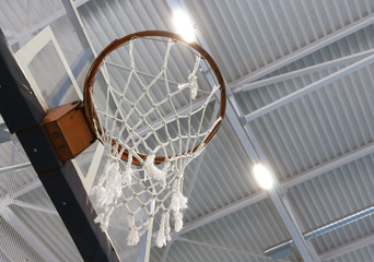 the ring of a basketball basket