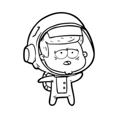 cartoon tired astronaut