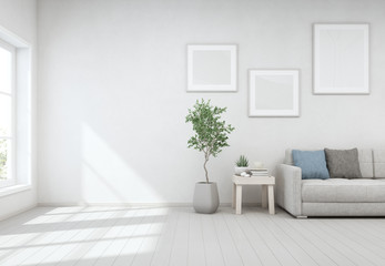 Wall Mural - Indoor plant and coffee table on wooden floor with white concrete wall background, Lounge near glass window in bright living room of modern scandinavian house - Home interior 3d illustration