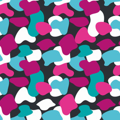 Blue and pink camouflage masking vector pattern. Universal colors background.