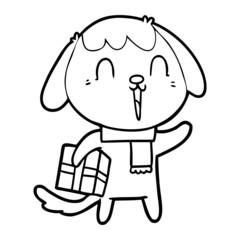 cute cartoon dog with christmas present