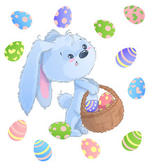 Happy Easter Bunny. Vector illustration clipart set for Easter greeting card, invitation with cute rabbit and Easter eggs on isolated background.