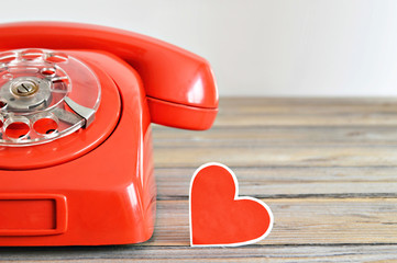 Valentines Day card: Heart and vintage telephone