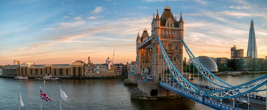 Tower Bridge panorama during sunset