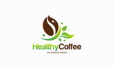 Healthy Coffee logo designs concept, Natural Coffee logo designs vector