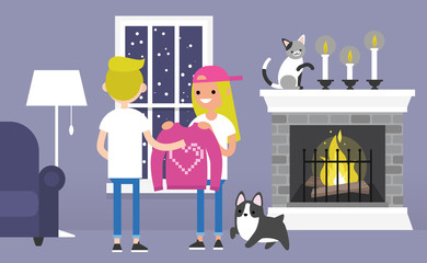 A couple of young characters celebrating Saint Valentines day. Decorated guest room with a fireplace. Pets. Cozy interior. Flat editable vector illustration, clip art