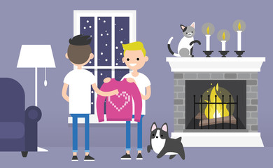 A couple of young gay characters celebrating Saint Valentines day. Decorated guest room with a fireplace. Pets. Cozy interior. Flat editable vector illustration, clip art
