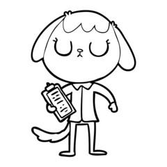 cute cartoon dog wearing office shirt
