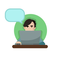 Vector illustration of a man using a laptop with speechbubble