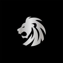elegant silver lion crest vector design concept