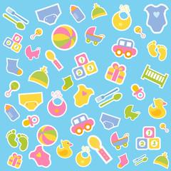 Baby flat vector icon set
