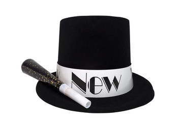 Isolated New Year's black costume top hat with noise maker.